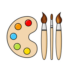 wooden art palette with blobs paint and brushes vector image
