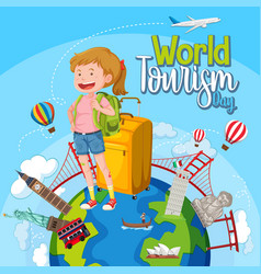 world tourism day logo with a tourist and famous vector image