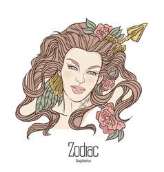 Zodiac sagittarius as girl vector