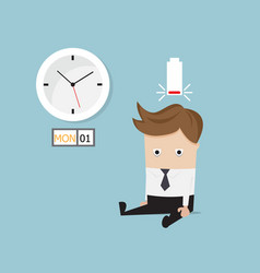 businessman sitting tired and low battery on vector image