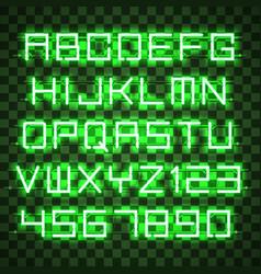 glowing blue green alphabet vector image