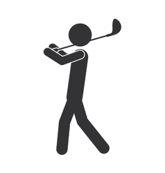 monochrome silhouette of man with golf club vector image vector image