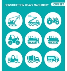 set of round icons white Construction heavy vector image