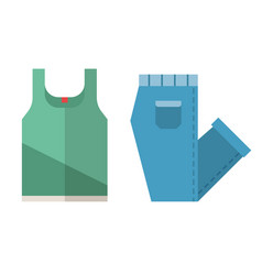 T-shirt and folded jeans icons vector