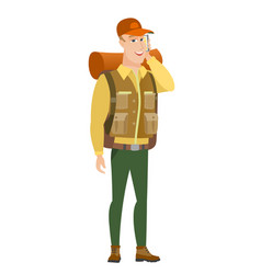 traveler talking on a mobile phone vector image vector image