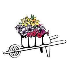 Wheelbarrow full of flowers vector image vector image