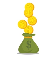 cartoon bag money earnings design isolated vector image