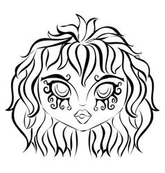 Fairy girl black and white portrait vector image