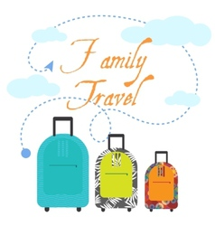 Family travel three suitcases vector image vector image