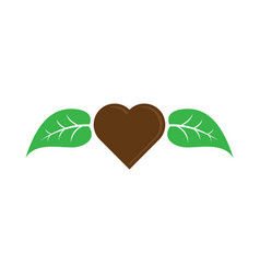 love chocolate with leaf logo image vector image vector image