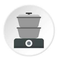 Steam cooker icon circle vector