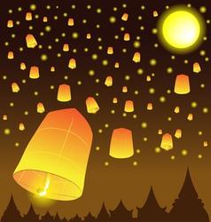 Thai Lanna Fire Balloons vector image vector image