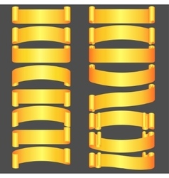 golden ribbons set vector image vector image