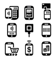 Mobile or cell phone payments paying online vector