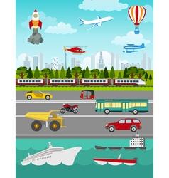 Transport infographics elements Cars trucks public vector image