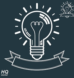 Electricity light bulb symbol insight emblem brain vector image
