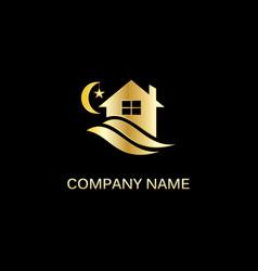 gold house night sleep logo vector image