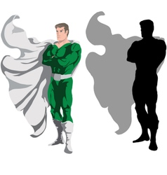 superhero and silhouette vector image