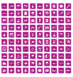 100 marine environment icons set grunge pink vector