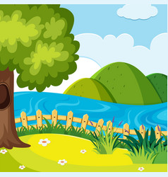 A nature hill landscape vector