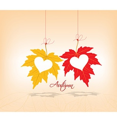 Autumn leaves background couple hearts vector