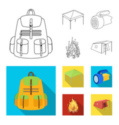 awning fire and other tourist equipmenttent set vector image