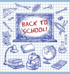 back to school chalkboard ink sketch poster vector image