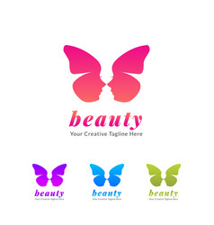 Beauty salon and spa with butterfly icon vector