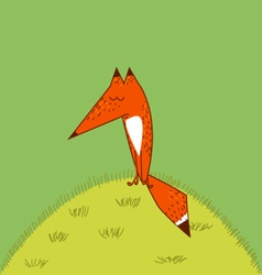Big Red Fox tail cute funny cartoon style vector