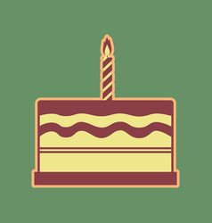 birthday cake sign cordovan icon and vector image