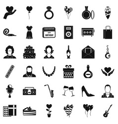 Birthday icons set simple style vector
