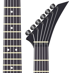 Black electric guitar on a white background vector image