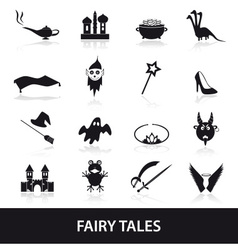 Black simple fairy tales theme icons set eps10 vector