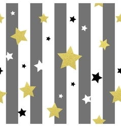 Black white and gold stars seamless patterns vector