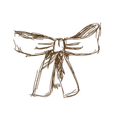 bow ribbon gift in a vintage woodcut engraved vector image