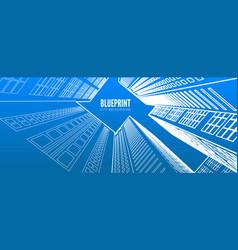 building wireframe 3d render city vector image