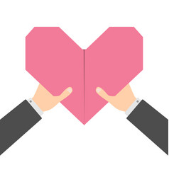 businessman hands arms holding pink origami paper vector image