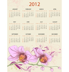 Calendar design for 2012 with floral ornament and vector