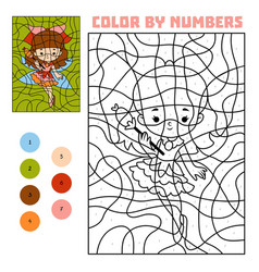 Color by number education game fairy vector