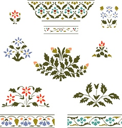 Color set blooming plant and border floral on whit vector image