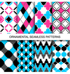 Colorful ornamental seamless patterns vector