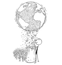 conceptual cartoon of world wealth distribution vector image