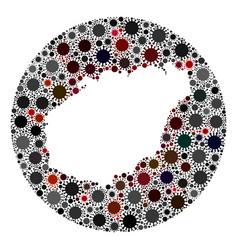 coronavirus stencils circle hainan map mosaic vector image