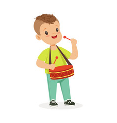 Cute little boy playing drum young musician with vector