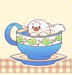cute little funny kawaii animal pet vector image