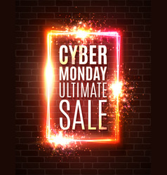 Cyber monday banner on brick wall ultimate sale vector