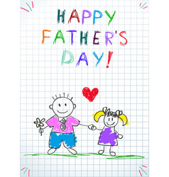 dad with daughter happy fathers day greeting card vector image