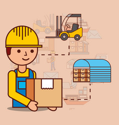Delivery man with cardboard box warehouse and vector