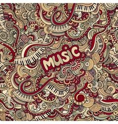 doodles music seamless pattern vector image