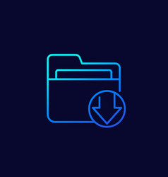 Download folder line icon vector